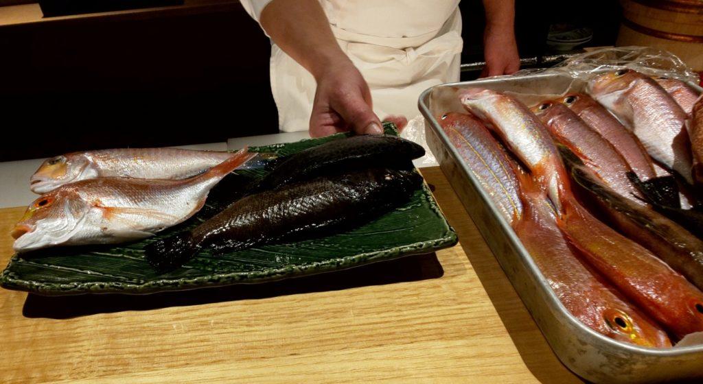鮨割烹海宮の魚介選び