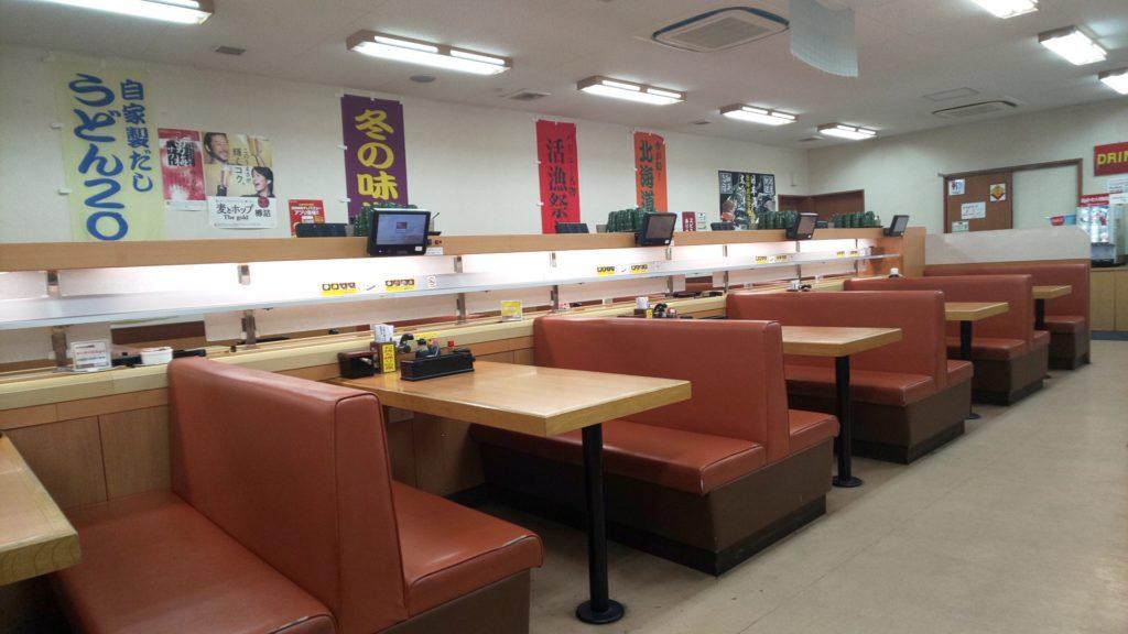 堺市の回転すしバリューのテーブル席